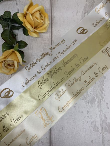 Golden Wedding Anniversary personalised ribbon